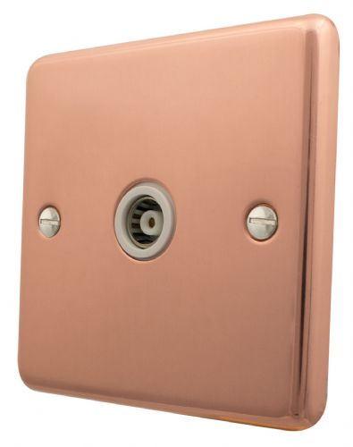 G&H CBC35W Standard Plate Bright Copper 1 Gang TV Coax Socket Point